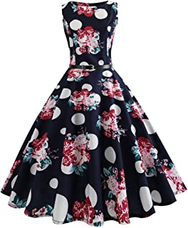 Dresses for Womens,DaySeventh Women Vintage Printing Bodycon Sleeveless Casual Evening Party Prom Swing Dress