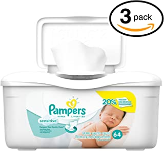 Pampers Baby Wipes Tub, Sensitive, 64 Count (Pack of 3)