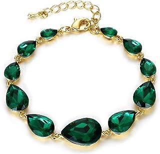 Minimalist Bracelet Delicate Chain Bracelet Round Cut Solitaire Green Emerald Chain Bracelet Green Emerald Bezel Bracelet May Birthstone