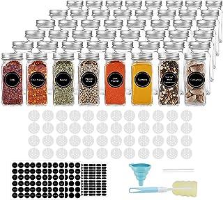 AIKKIL Pots à épices de 100 ml - Bocaux à épices carrés vides - Couvercle shaker et bouchons en métal hermétiques - Entonn...