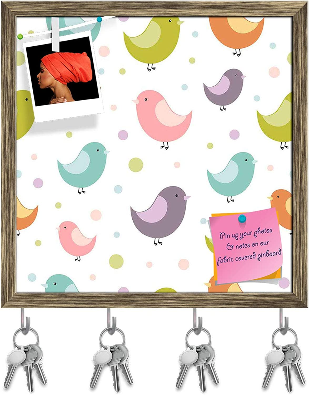 Artzfolio colorful Birds Key Holder Hooks   Notice Pin Board   Antique golden Frame 20 X 20Inch