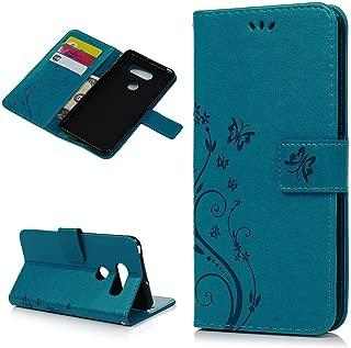 LG V30 Case, LG V30 Plus Case, LG V30s Case Wallet Flip Floral Butterfly Magnetic Kickstand Leather Cover Flexible Skin Stylus Dust Plug Wristlet Strip for LG V30 / LG V30 Plus/LG V30s - Blue