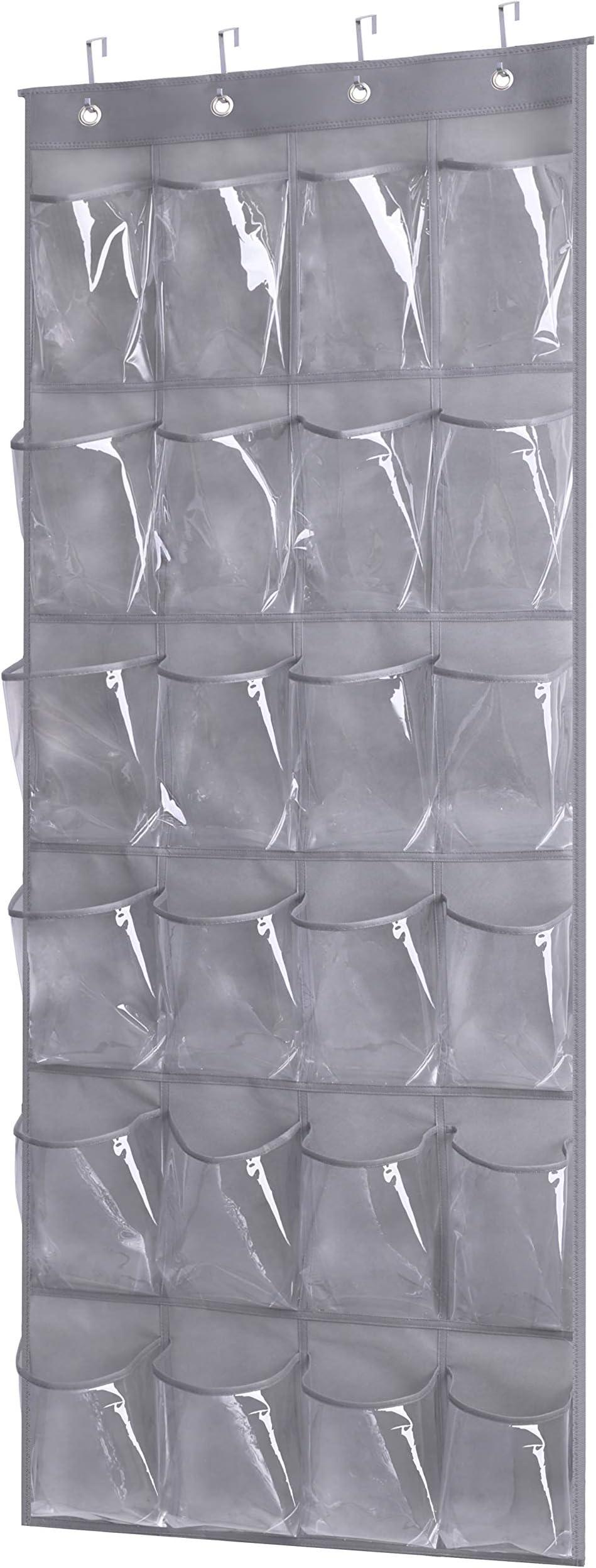 Kimbora Over the Door Shoe Rack with 24 Clear PVC Pockets Hanging Organizer for Closet Bathroom Kitchen, Grey