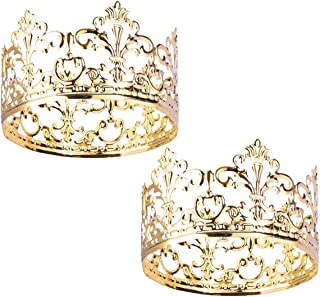 Hemoton 2pcs Tiara Crown Cake Topper Vintage Gold Cake Crown Topper Hair Ornaments Wedding/Birthday Cake Decoration For King, Queen, Prince And Princess Party(3.93x 2.28 Inch/Gold)