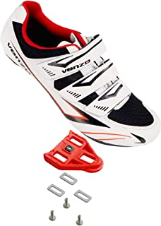 Venzo Bicycle Men's or Women's Road Cycling Riding Shoes - 3 Velcro Straps- Compatible with Peloton Shimano SPD & Look ARC Delta - Perfect for Road Racing Bikes White with Delta Cleats
