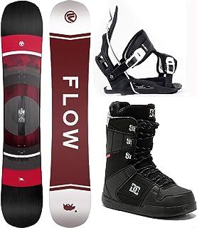 Flow 2021 Men's Vert Wide Snowboard Package Black Alpha Bindings DC Boots