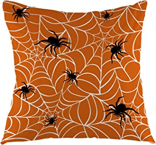 oFloral Spiders On Webs Halloween Throw Pillow Cover Square Cushion Case for Boy Girl Woman Sofa Couch Bedroom Living Room Home Festival Decorative 18