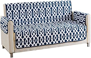 Quick Fit - The Original Geometric Reversible Water Resistant Furniture Cover for Dogs, Kids, Pets Sofa Slipcover for Couch, Recliner, Loveseat or Chair (Sofa: Navy Blue)