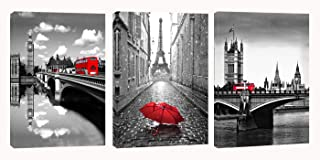 Eiffel Tower Canvas Wall Art Red Umbrella Decor - Black White London Bridge with Red Bus Picture Painting on Canvas Framed Artwork for Living Room Bedroom Office Home Decor 3 Panel (Red1)