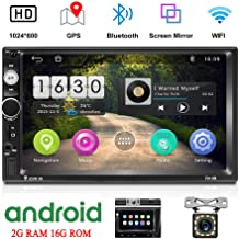 Camecho Android Double Din Car Stereo with 7'' HD Touch Screen Head Unit GPS FM Bluetooth USB Radio Support iOS/Android Phones Mirror Link + 12 LEDs Backup Camera
