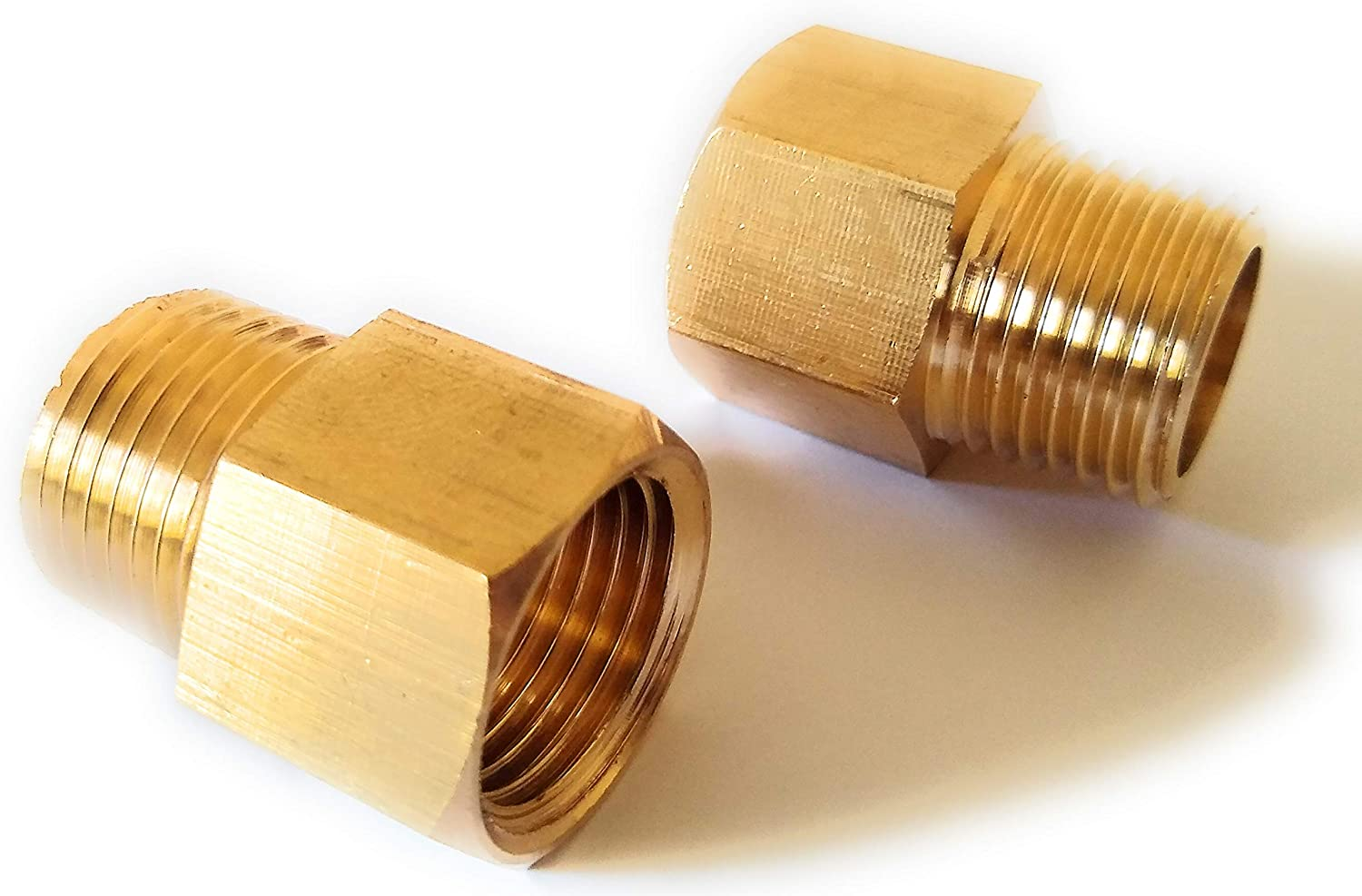 Leames (2-pack) Brass Pipe Fitting, NPT Adapter, 1/2