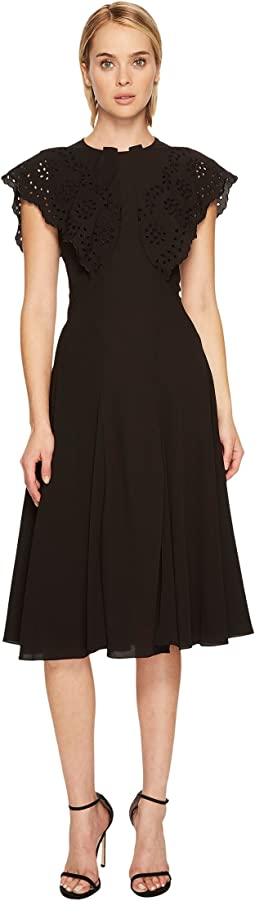Zac Posen Crepe Cap Sleeve High Neck Dress