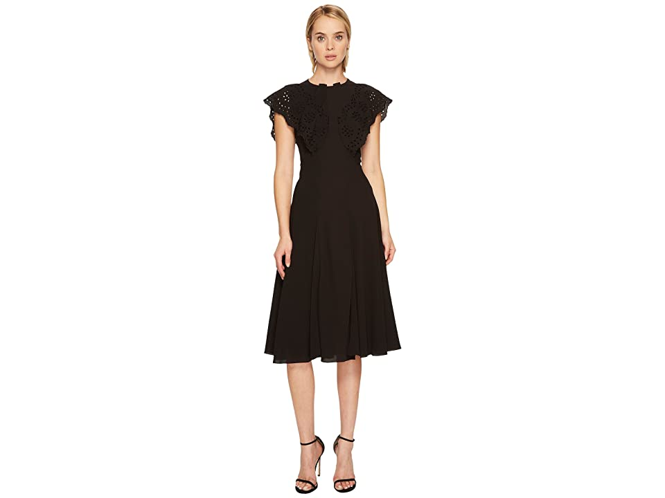 Zac Posen Crepe Cap Sleeve High Neck Dress (Black) Women