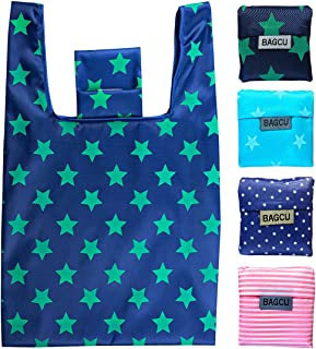 4 Pack Folding Reusable Shopping Bags Machine Washable Grocery Bags Large Capacity Durable Sturdy Lightweight Polyester Fa...