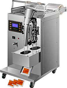 VEVOR Automatic Liquid Sealing Machine Food-Grade Stainless Steel Weighing Filling Machine 5-160 ml Liquid Quantitative Dispenser, with 20-40 Bags/Min Sauce Packing, Trilateral Sealing for Oil/Milk