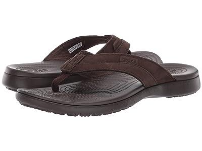 Crocs Santa Cruz Leather Flip (Espresso/Espresso) Men