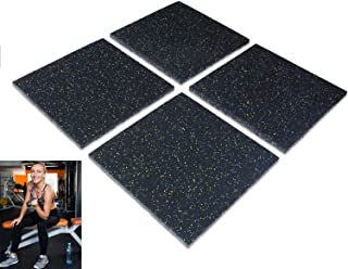 jxgzyy 4PCS Gym Floor Rubber Mat Interlocking Gym Flooring Tiles Heavy Duty Gym Mats Thick Soundproof Mat for Home Machine...
