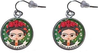 Orecchini pendenti in acciaio inossidabile, diametro 20 mm, fatto a mano, illustrazione Frida Viva la Vida