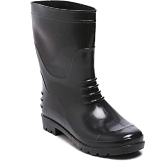 "Agarson Full PVC Dual Density High Ankle Gum Boots (12"" Height); BAHUBALI, Black, 8"