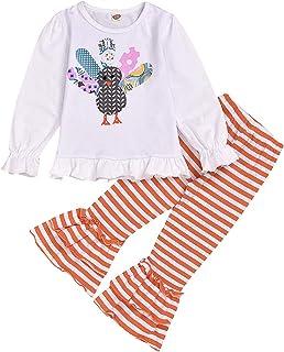T TALENTBABY Baby Mädchen Thanksgiving Outfits Set Kinder Türkei Feder Rüschen Print Spielanzug Tops T-Shirt  Gestreifte Schlaghose Bodysuit Kleidung Set