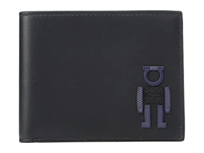 Salvatore Ferragamo Robot Bifold Wallet (Black/Blue Marine) Wallet Handbags