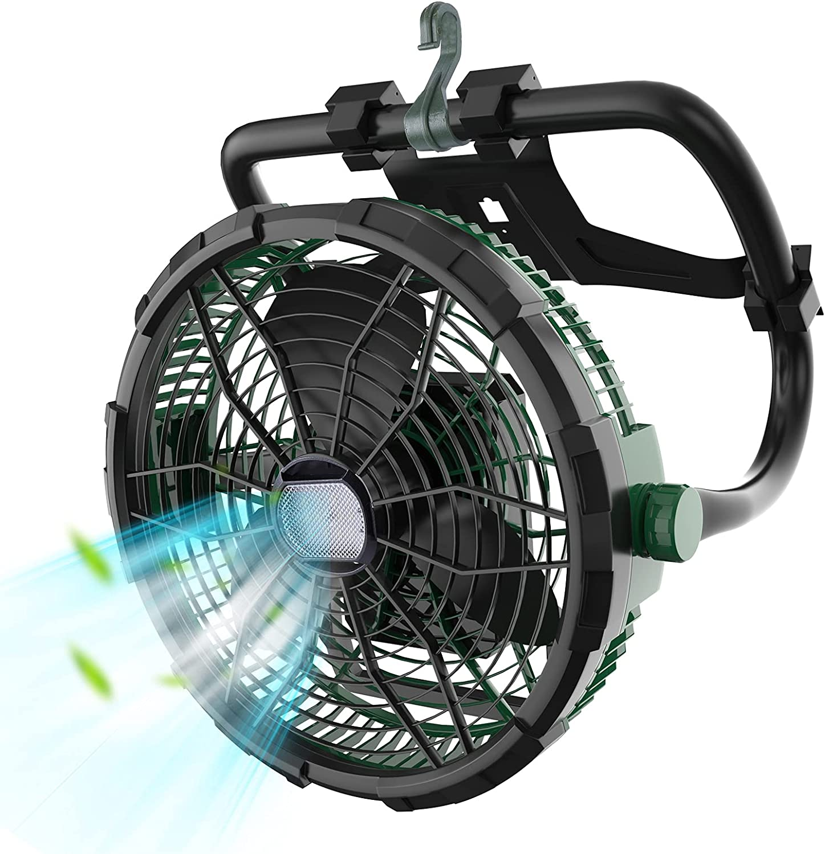 FYRMMD Ventilador De Suelo con Luz, Ventilador Grande con Batería De 14400 MAh, Ventilador Portátil Recargable, Ventilador De Alta Velocidad para Exteriores