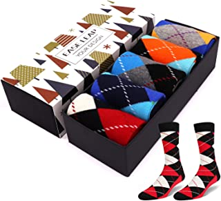 Mens Dress Socks Colorful Patterned Cotton Socks Funky Crew Socks for Women