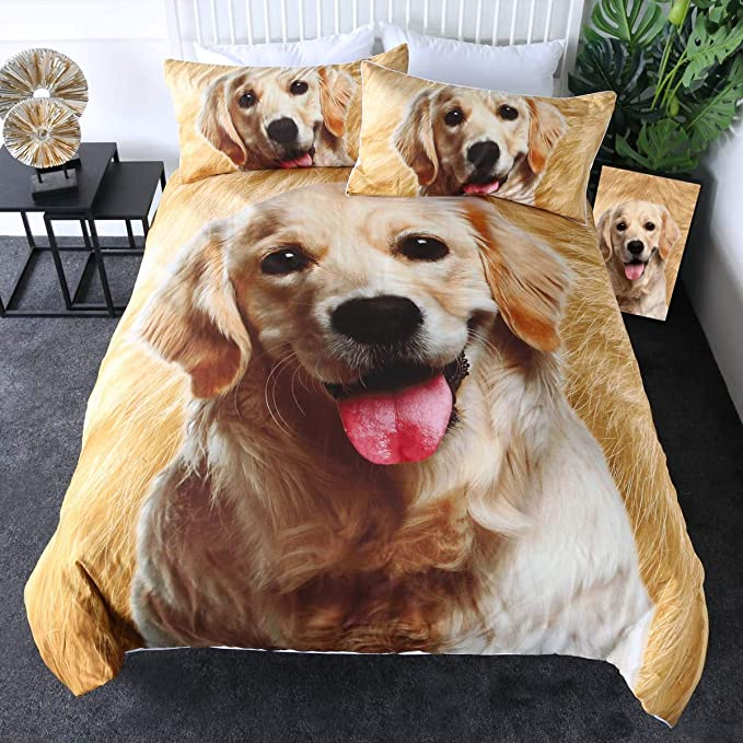 Sleepwish Golden Retriever Bedding Puppy Dog Comforter Cover 3d Pet Themed Animal Lover Duvet Cover Set 3 Piece Brown Tan And White Full Amazon Ca Home Kitchen