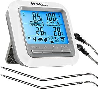 Habor クッキング温度計 LCD大画面 オーブン温度計 2本プローブ タイマー アラーム機能 キッチン温度計 バーベキュー/グリル/オーブン/燻製作りなどの温度管理 マグネット付き