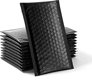 60 pcs Upgraded Poly Bubble Mailers Usable Size 4x8 Inch Padded Envelopes Bubble Lined Poly Mailer Self Seal Black (Inside...