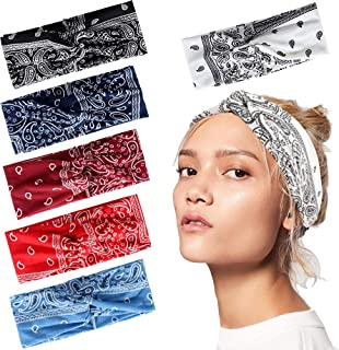 6Pcs Boho Headbands for Women Elastic Floral Print Paisley Bandana Knot Headbands Turban Headwraps Criss Cross Head Wrap Hair Band Yoga Running Sport Twisted Hairband Hair Accessories for Women Girls