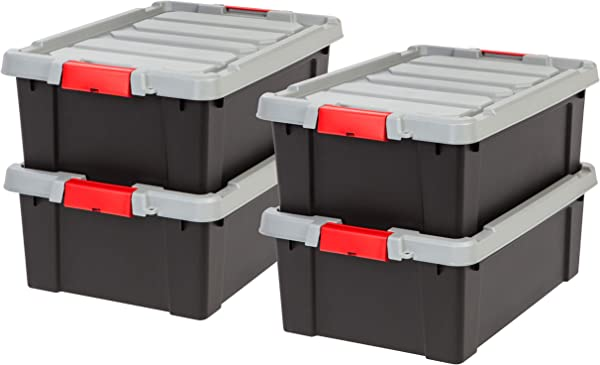 IRIS USA Inc SIA 10 Store It All Tote 4 Pack 11 75 Black Red Buckle