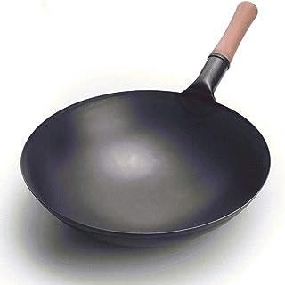 Wok Wok en fonte, poêle à fer pur, poêle antiadhésif non coutumière, ménage rond de grande capacité wok (taille: B38 * 10c...
