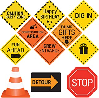 Construction Birthday Party Supplies Signs - 12 Double Sided Medium Size Traffic Cutout Signs for Kids Birthdays and Bedroom Decorations