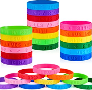 60 Pieces Religious Sayings Rubber Bracelet Religious Bracelets Silicone Wristbands for Christian Religious Gifts or Trunk...