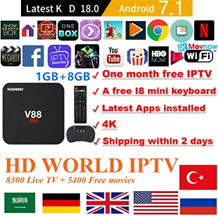 $45 » TTV Box Android 7.1 TV Box Smart TV Box Media Player 1GB 8GB V88 Support USB 2.0 2.4GHz WiFi 3D 4K Full HD H.265 100M Ethernet +1 Month IPTV Subscription+ Mini Wireless Keyboard Remote