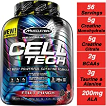 MuscleTech Cell Tech Creatine Monohydrate Formula Powder, HPLC-Certified, Improved Muscle Growth & Recovery, Fruit Punch, 56 Servings (5.95lbs)