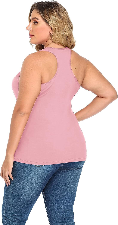 MONYRAY Women Plus Size Tank Top with Built in Bra Women Plus Size Racerback Tank Tops Cotton 1X,2X,3X,4X,5X