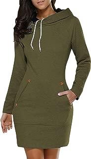 Women's Long Sleeve Cotton Slim Fit Midi Hoodie Dress with Pocket S-5XL