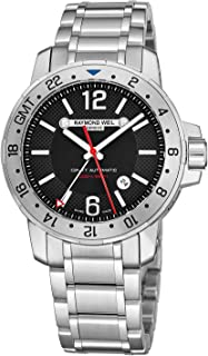 Nabucco Mens Stainless Steel Automatic GMT Watch - 44mm Black Face with Luminous Hands, Date, Sapphire Crystal - Water Resistant 200 Meters Swiss Made Dual Time Zone Watch 3800-ST-05207