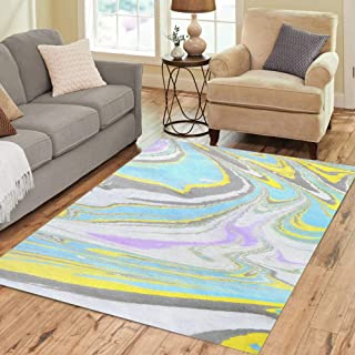 Semtomn Area Rug 2` X 3` Ink Marbling Ebru Creative Abstract Waves Writing Endpapers Home Decor Collection Floor Rugs Carpet for Living Room Bedroom Dining Room