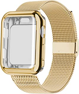 YC YANCH Compatible with Apple Watch Band 38mm 40mm 42mm 44mm with Case, Stainless Steel Mesh Loop Band with Apple Watch Screen Protector Compatible with iWatch Apple Watch Series 1/2/3/4