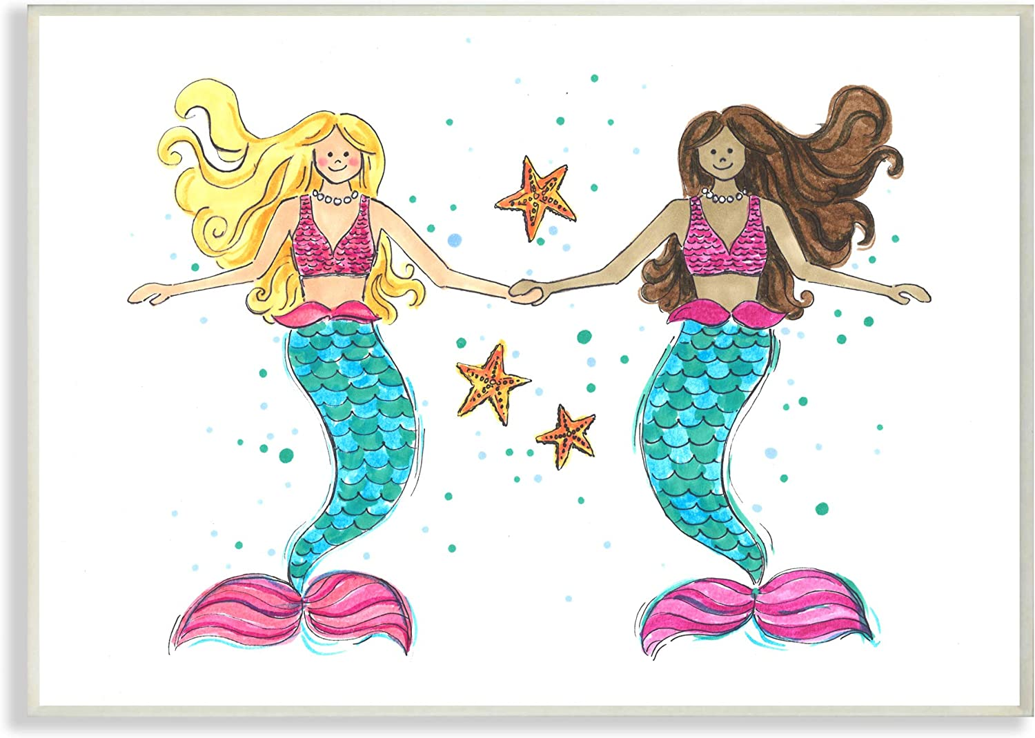 The Kids Room by Stupell Two bluee and Pink Mermaid Friends with Starfish Wall Plaque Art, 13 X 19, Multi-color