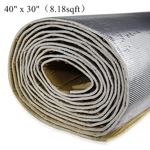 shinehome 6mm/236mil Car Heat Shield Sound Deadener Deadening Heat Insulation Mat Noise Insulation and