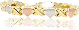18 kt Gold Over Sterling Silver Hugs and Kisses XOXO Bracelet Tricolor 7 1/2