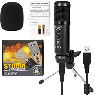 Kmise Portable USB Condenser Microphone Mic MK-F500 Professional with USB OTG Cable Tripod Stand for Vocals, Games, Instru...