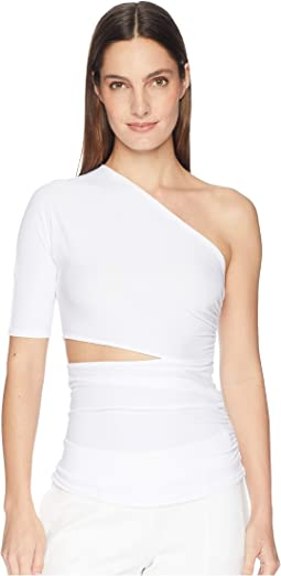 Narcissa One Shoulder Short Sleeved Top with Cut Out At Waist