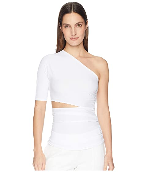 Cushnie Narcissa One Shoulder Short Sleeved Top with Cut Out At Waist