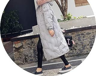 Winter Woman Down Jacket Really Big Fur Collar Long Thick Zipper Parkas Hooded Coat