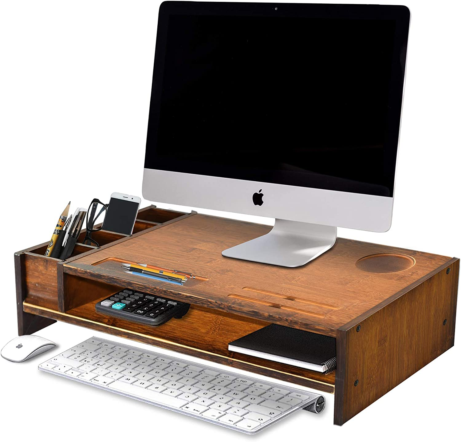 WAYTRIM 2-Tier Bamboo Monitor Stand, Wood Computer Monitor Riser, Wooden Desk Organizers with Adjustable Storage Accessories Shelf for iMac, Laptop, Printer - Classic Antique Brown